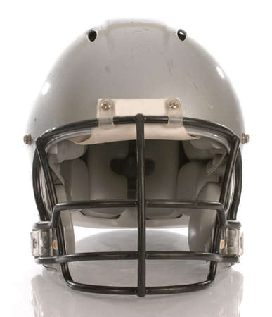 facemask: football helmet with reflection on white background