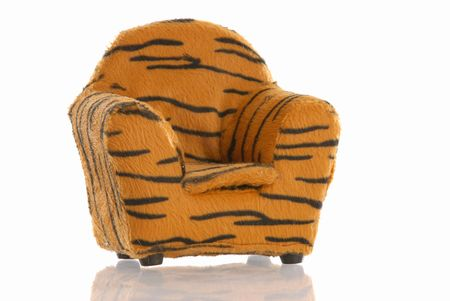 leopard print chair with reflection on white background Stock Photo - 5193026