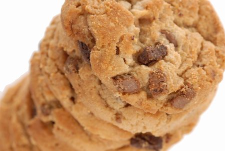 stack of peanut butter chocolate chip cookies  photo
