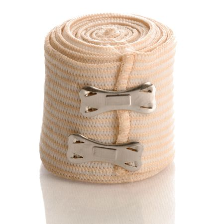 tensor: medical elastic tensor bandage with reflection on white background Stock Photo