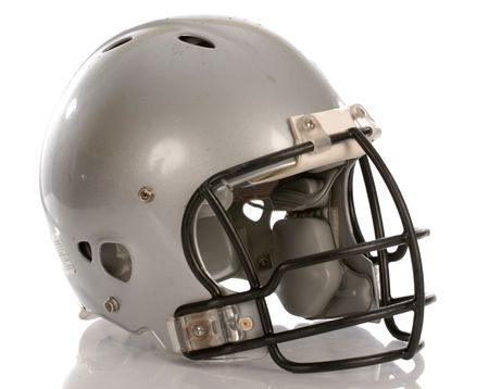 football tackle: grey football helmet with reflection on white background Stock Photo