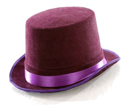 purple top hat isolated on white background photo