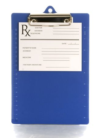 medical clipboard with prescription pad with reflection on white background photo