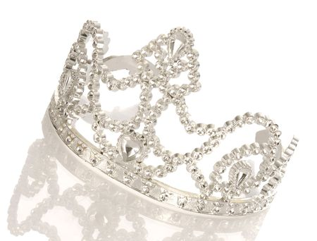 diamond: tiara or crown with reflection isolated on white background