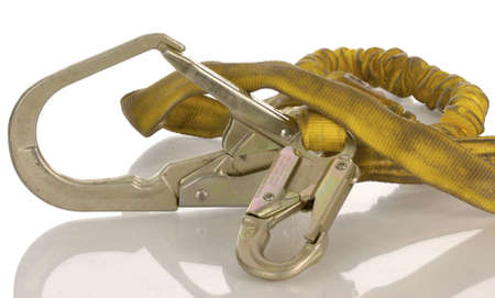 rappel:  industrial safety harness equipment with reflection on white background