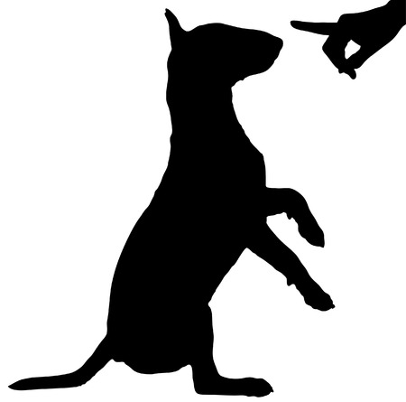terriers:  silhouette of persons hand reprimanding a naughty dog