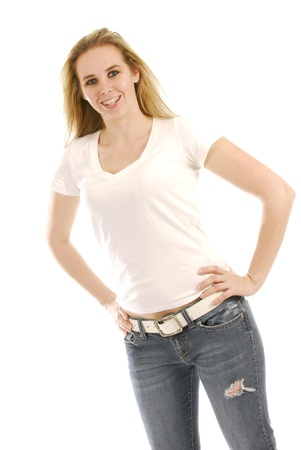 happy young woman wearing braces on white background photo