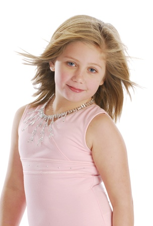 pretty little girl dressed in pink on white background Stock Photo - 8481487