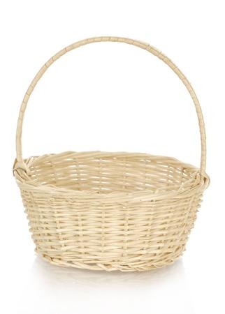 cepelia: wicker basket with reflection on white background Stock Photo