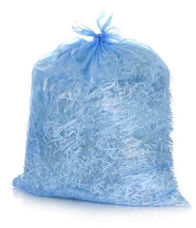 shredded: recycle - garbage bag full of shredded paper