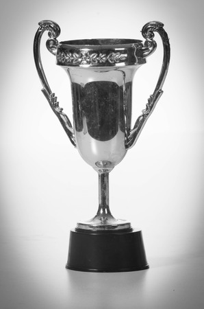 silver medal: trophy in black and white Stock Photo