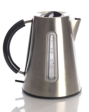electric tea kettle: electric tea kettle with reflection on white background