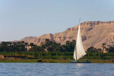 The Egyptian sailing vessel on the river Stock Photo