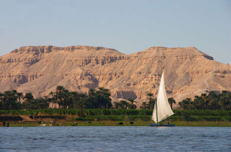 The Egyptian sailing vessel on the river nile
