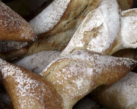 Bread sold at a small village market in Normandy Stock Photo
