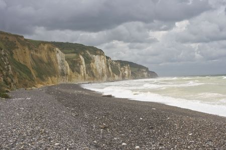Along the coast of Normandy cliffs with ocean Stock Photo - 2395219