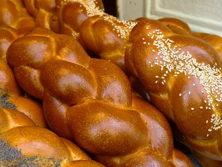 Fresh Challah in Paris from a Jewish bakery photo