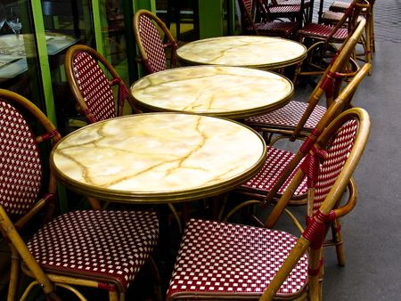 round chairs: Outdoor Paris cafe