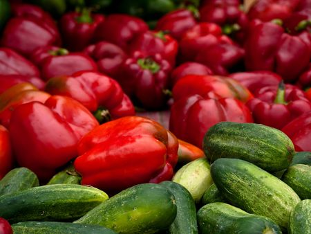 cucumbers: Red peppers with cucumbers Stock Photo