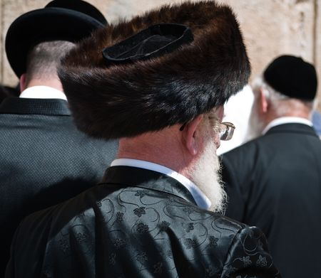 hassidic: Hassidic man at the Western Wall in Jerusalem