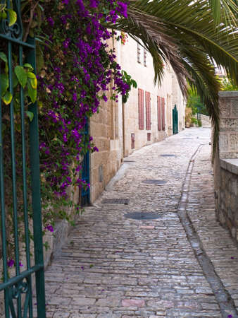 ancient buildings: Ancient Street in Jerusalem in the neighborhood called Yemin Moshe
