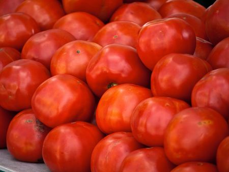 ourdoor: Fresh beautiful tomatoes at an ourdoor market in Paris France Stock Photo