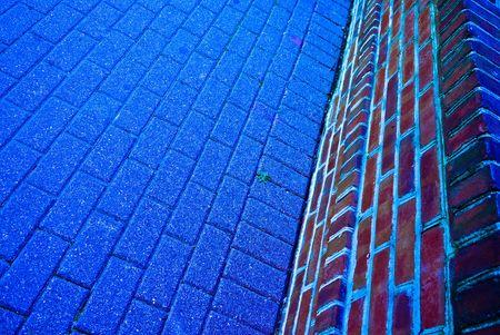 Blue brick path and wall Stock Photo - 7616334