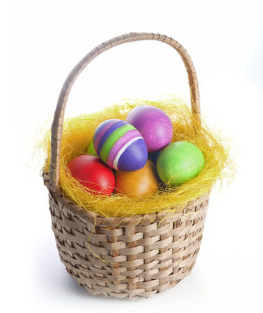 Coloured easter eggs in a braided basket photo