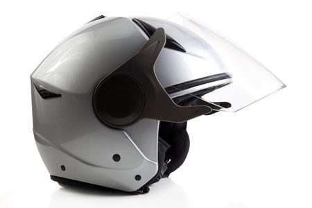 casco de moto: Cara abierta Gray casco de la motocicleta aislado en blanco Foto de archivo