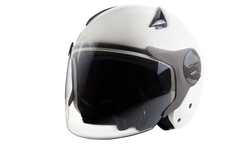 integral: Glossy white scooter helmet isolated on background