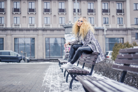 latvia girls: Young lady with blonde hair in winted Stock Photo