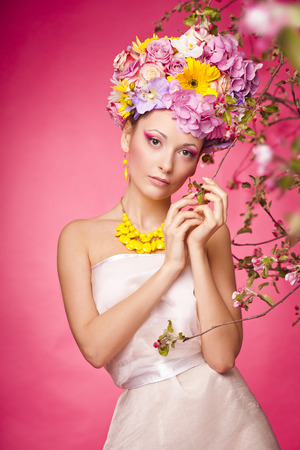 latvia girls: Beautiful girl with flowers on her hair