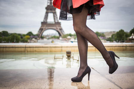 heeled: Woman street fashion style outdoor in France eifel tower