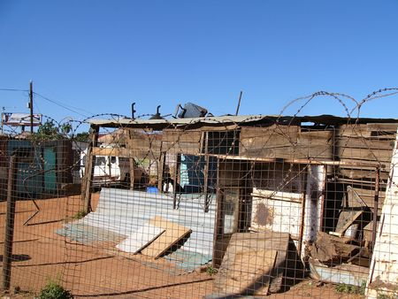 dwelling: A corrugated iron dwelling in Soweto, South Africa. The inhabitants were unemployed and unable to find work.
