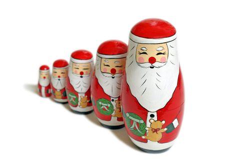 mu�ecas rusas: Una procesi�n de Santa Claus de madera mu�ecas rusas