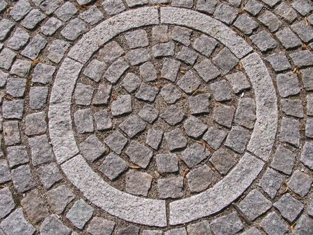 footway: Detail of artistic pavement work. Stock Photo