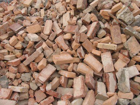 renewal: Red bricks from urban renewal. Stock Photo