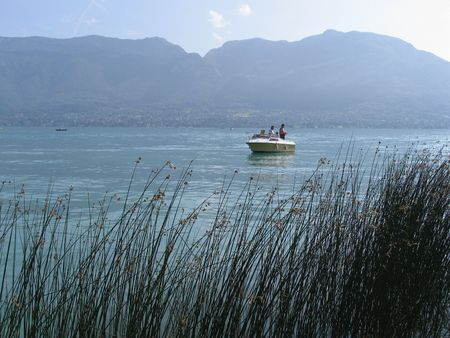 angling: Angling from boat Lake Annecy, France.