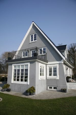 renovated:  Old renovated villa Denmark. Stock Photo