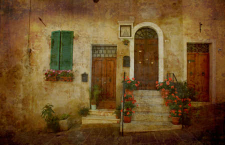 entrance door: Artistic work of my own in retro style - Postcard form Italy.