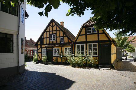 hollyhocks: Old city of Faaborg, Denmark.