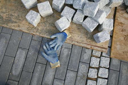 constructing: Constructing a new pavement promenade.