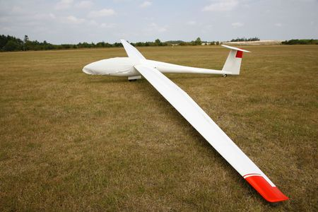landed: Glider just landed after competition but not yet pulled away. Arnborg, Denmark.