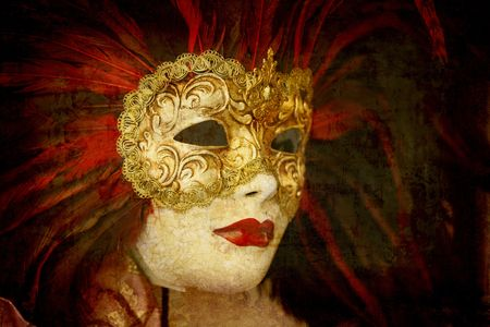 Artistic work of my own in retro style - Postcard from Italy.  - Carnival mask - Venice. photo