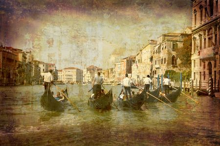 Artistic work of my own in retro style - Postcard from Italy. - Gondolas Grand Canal - Venice Stock Photo