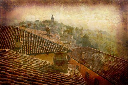 piedmont: Artistic work of my own in retro style - Postcard from Italy. - Monteforte Alba - Piedmont.