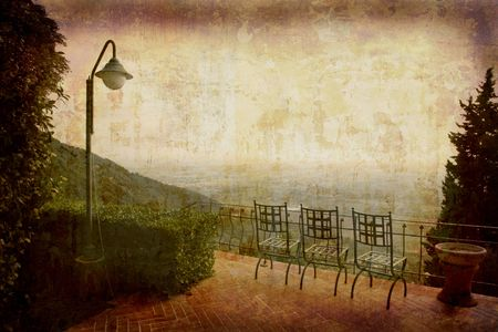Artistic work of my own in retro style - Postcard from Italy. - Seats with view - Tuscany.