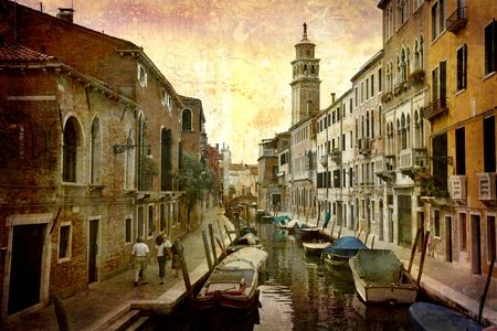 Artistic work of my own in retro style - Postcard from Italy. - Venice.