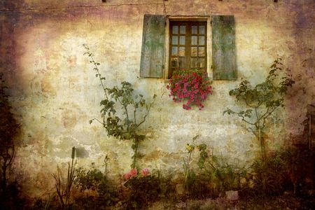 piedmont: Artistic work of my own in retro style - Postcard from Italy. - Rural facade - Piedmont.