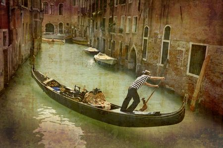 Artistic work of my own in retro style - Postcard from Italy. - Gondola - Venice
